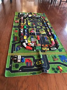 Car Mat and 64 toy cars / dinkies