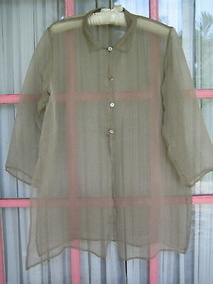 Eileen Fisher NEW Tunic Jacket TOP silk organza sheer Size L