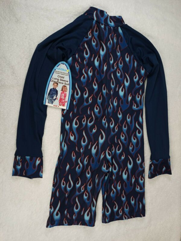 FLAME DESIGN SunSkinz Kids sz 8 *SWIMSHORTS LONG SLEEVE *Max uv protection~~CUTE