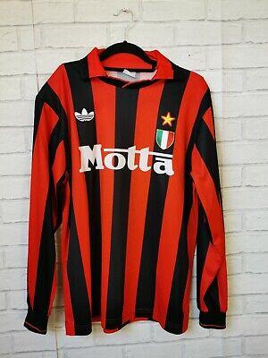 AC MILAN 1992 1993 HOME ORIGINAL LONG SLEEVE ADIDAS FOOTBALL SHIRT (LARGE) MINT image