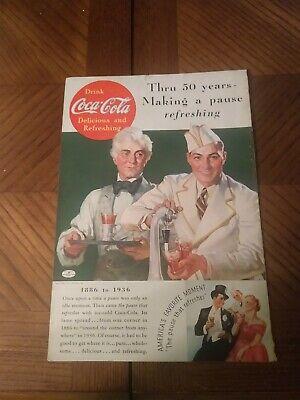 1936 COCA-COLA AD Coke fountain Soda Jerk 50 year anniversary