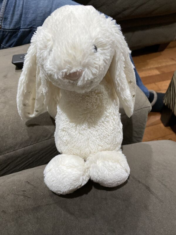 Jellycat Bashful Cream White Bunny With Star EarsRabbit Soft Toy Plush  12""