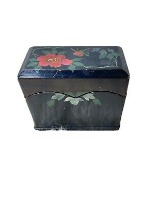 Vintage Wooden Card Box Business Playing Wood Painted Floral Occupied Japan