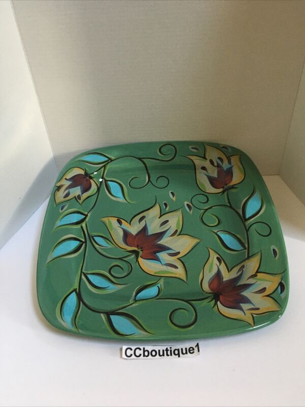 Southern Living Gail Pittman Teal Green Bountiful Large Square Platter 15 1/2in.