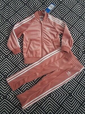 GIRLS ADIDAS VELOUR TRACKSUIT SET SIZE (18-24MONTHS) (2-3 YEARS) CY8489 PINK