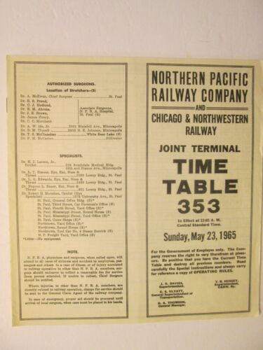 Northern Pacific Chicago Northwestern Joint Terminal Time Table 353 May 23, 1965
