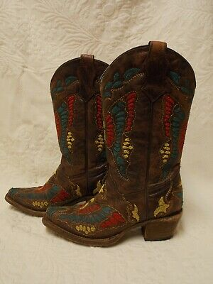 Girls Corral Brown Butterfly Leather Western Cowgirl Boots Snip Toe Size  2 T