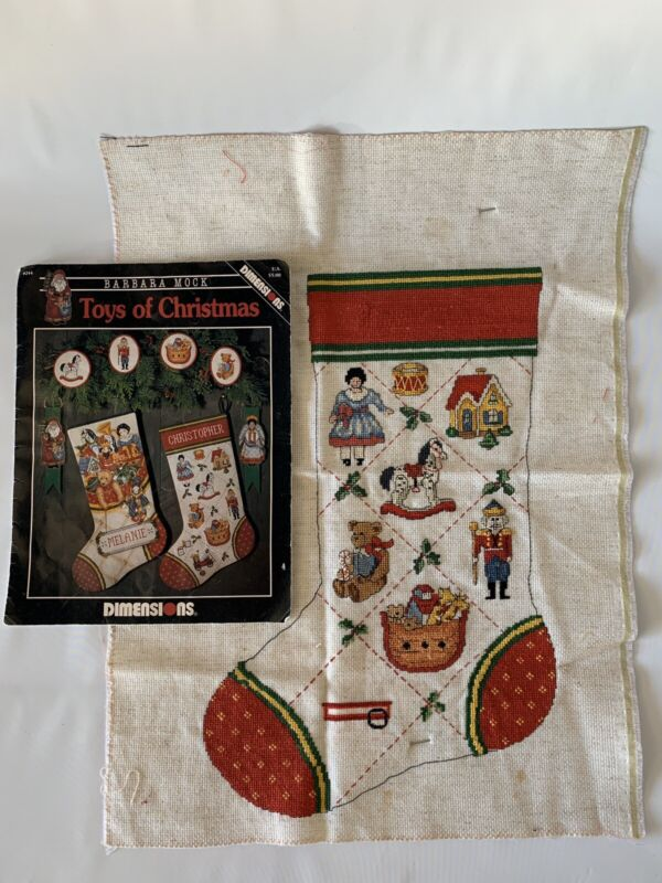 Vintage Cross Stitch Dimensions #244 Christmas Stockings Patches Stocking Toys