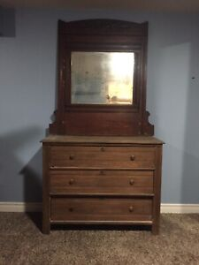 Elm Dresser and Mirror