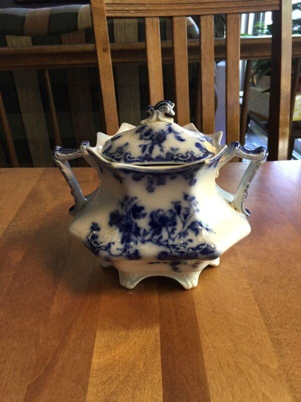 Antique Flow Blue Janette Sugar Bowl C1895 Grindley