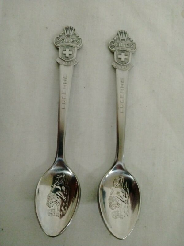 "2 Vintage ROLEX Bucherer Lucerne Switzerland Souvenir  Spoons - Lion - 4.25"""