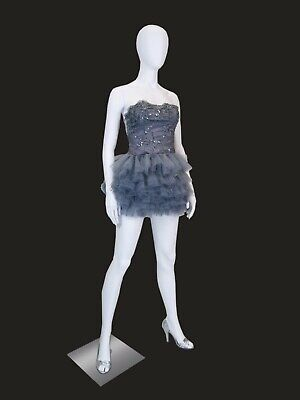 Womens Matte White Full Body Mannequin With Egg Head With Round Metal Base