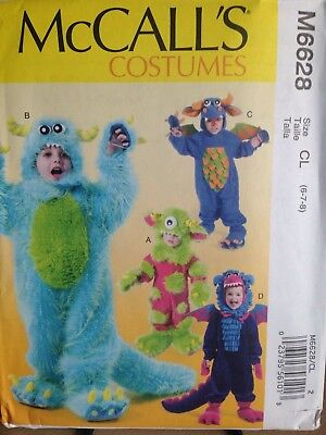 DRAGON & MONSTER Costume for Kids Size 6-8 - Uncut Sewing PATTERN McCall's 6628 - Monster Costumes For Kids
