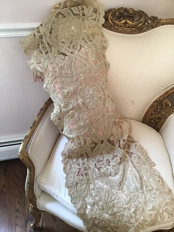 Shabby Antique vtg old victorian  Net Lace battenburg Old runner Doily 53x17