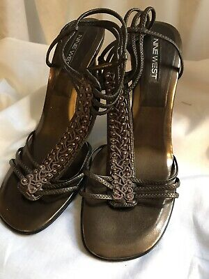 "NINE WEST ANKLE STRAP 3.5"" SPIKE HEEL COPPER COLOR SHOES 8.5 M EUC FREE MASK"
