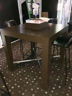 Square brown laminate tables