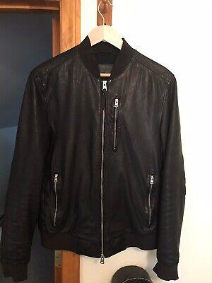 All Saints Blenham Bomber Leather Jacket - Black- Men's Size Medium