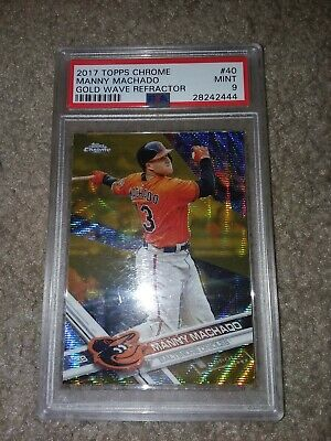 PSA 9 MANNY MACHADO 2017 TOPPS CHROME GOLD WAVE REFRACTOR BASEBALL CARD