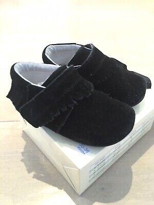 Jack & Lily Black Suede Tassle Mocassin Shoes Barefoot, Infant 7 (30-36 Months), used for sale  London