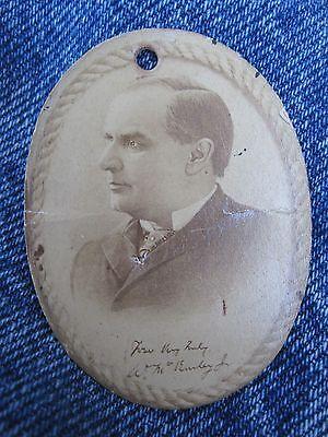 ANTIQUE PRESIDENT WILLIAM McKINLEY CONGRESSIONAL PHOTO PENDANT STEUBENVILLE OH
