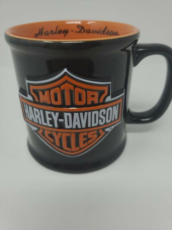Harley Davidson Motor Cycles Black Orange Coffee Mug