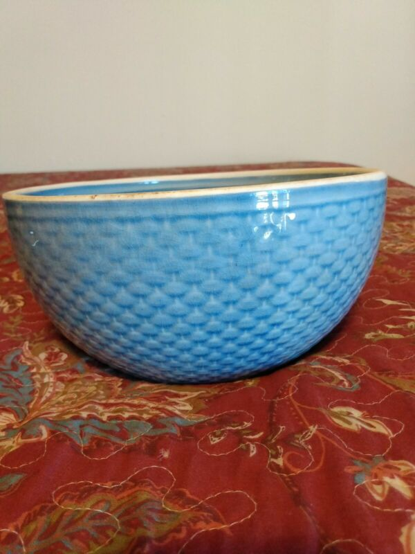 Antique W. S. George Mixing Bowl, Basketweave