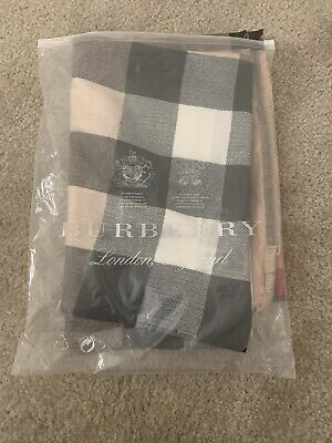 burberry silk scarf new Beige With Black Red Strips Long 27 Inches By 72 Inches