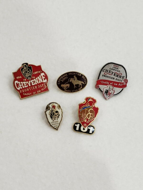 Lot Of 5 Cheyenne Frontier Days Bull Riding Enamel Pins