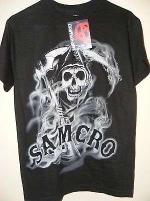 New Soa Sons Of Anarchy Mens Samcro Reaper Motorcycle Club Shirt   Large   L10
