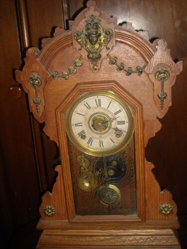 Antique Seth Thomas 8 day wind up kitchen clock  with alarm working used