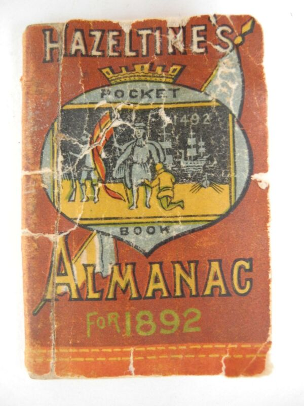 Vintage Original 1892 Hazeltine's Miniature Pocket Book Almanac