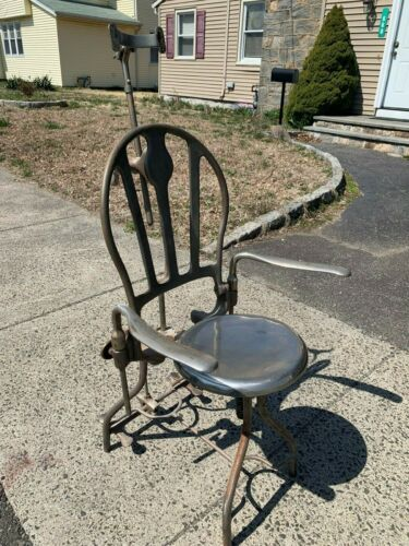 Vintage Antique Cast Iron Metal Steel Adjustable Dentist Dental Chair Steampunk