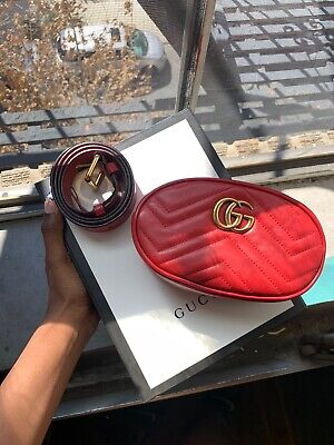 Gucci GG Marmont Matelasse Leather Belt Bag 75 With Tags And Authentication