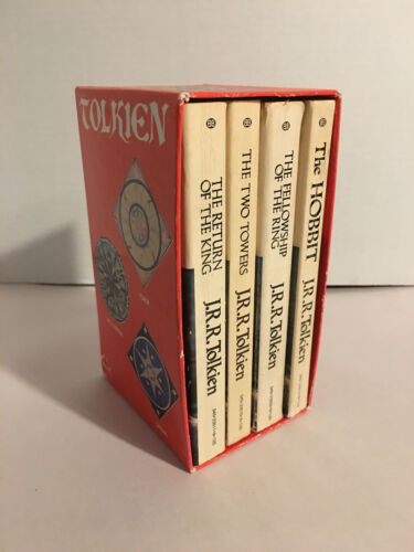 1973 J.R.R. TOLKIEN RED BOX SET LORD OF THE RINGS TRILOGY 4 BOOKS BALLANTINE