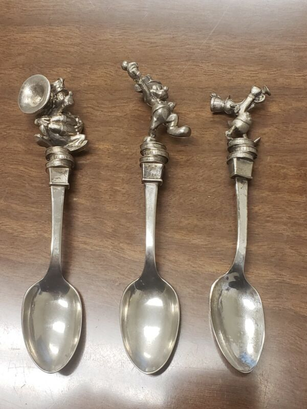 3 DISNEY CHARACTER Spoons NE COLLECTOR SOCIETY PLATED PEWTER MARCHING BAND