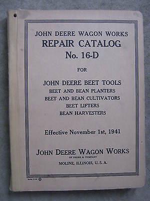 John Deere Beet Bean Planters Cultivators Lifters Harvester Repair Catalog 16-D