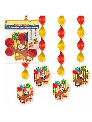 Curious George Party Supplies Hanging Decorations-4ct. - Curious George Party Decorations