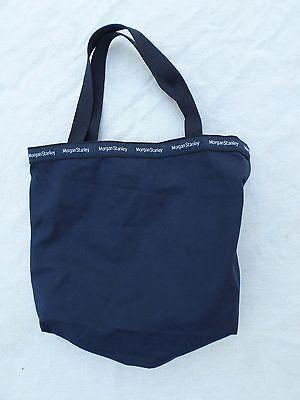 Morgan Stanley Rare Blue Cotton Canvas Logo Ribbon Shoulder Tote Bag 17
