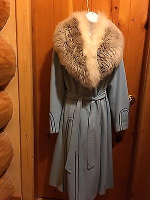 Vintage Women's Coat with Fur Collar Blue