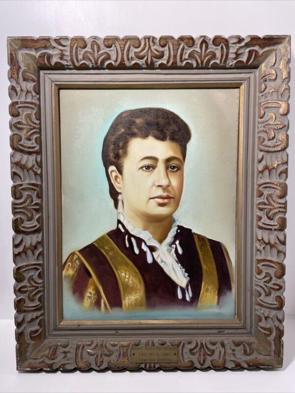 Hawaiian Chiefess Bernice Pauahi Paki Bishop Oil Painting Framed Unknown Date