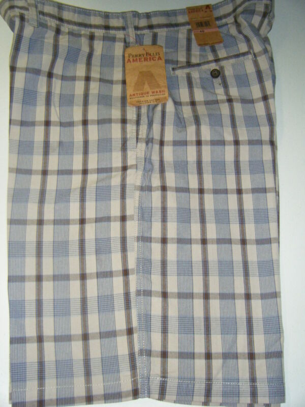 MENS PERRY ELLIS ANTIQUE WASH COTTON BLUE BROWN TAN PLAID NEW