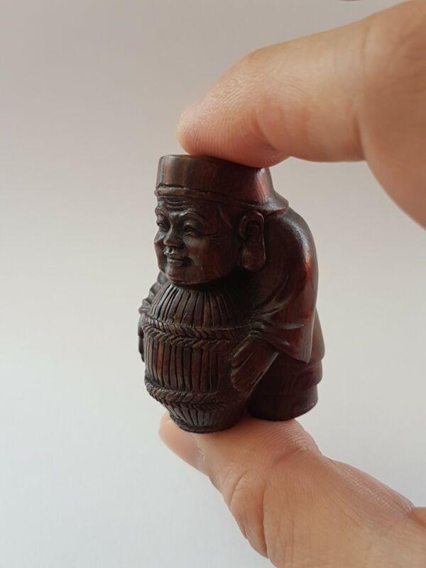 19th Century Japanese Netsuke Boxwood Hand Carved Fish-basket Man Figure~signed