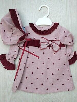 A Baby Girls Spanish Romany Set with wine 2 Piece Age 18 Months D500