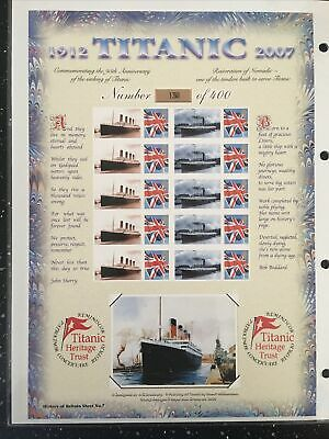 95TH ANNIV. OF THE SINKING OF THE TITANIC HOB SHEET NUMBER 7. HARD TO FIND