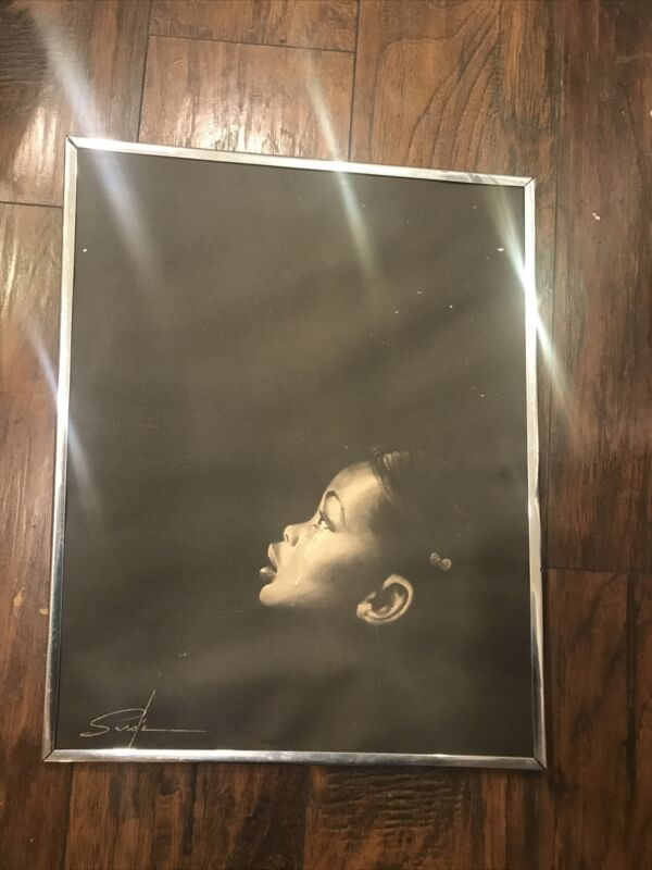 Vtg Litho Poster Print Signed By Serole African American Black Americana BLM Art