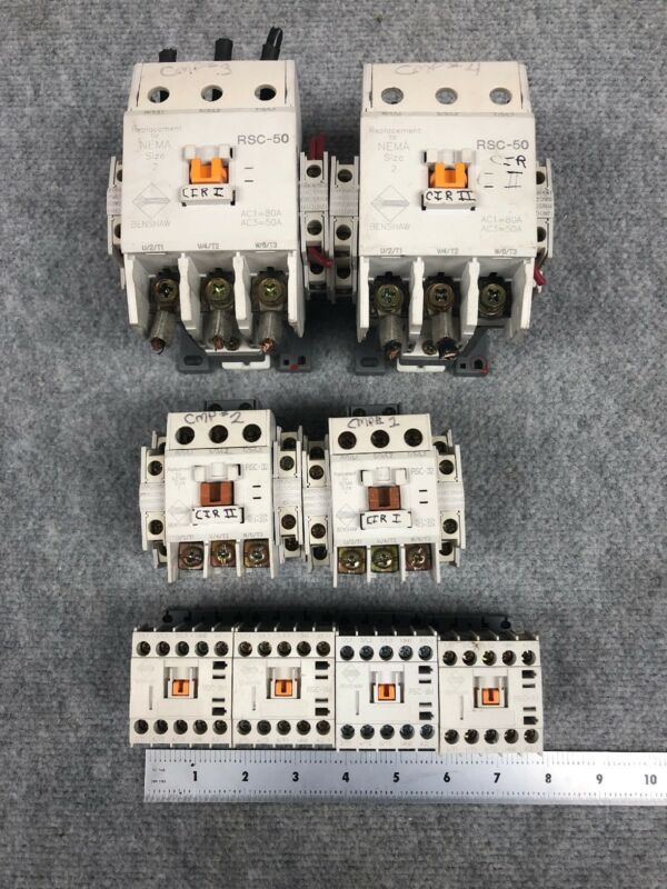 Lot of 8*** Benshaw Magnetic Contactors RSC-50, RSC-32, RSC-9M ***See Details
