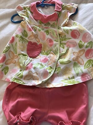 Le Top Baby Girl 12-18 mo Outfit Dress Bloomers Flowers Tulips Butterflies