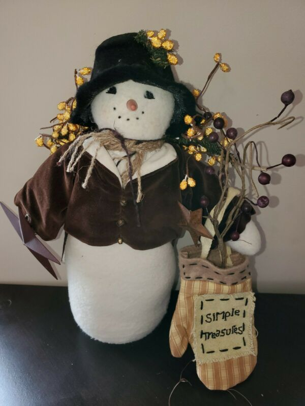 PRIMITIVE COUNTRY SNOWMAN DOLL HOME DECORATION XMAS HOLIDAY