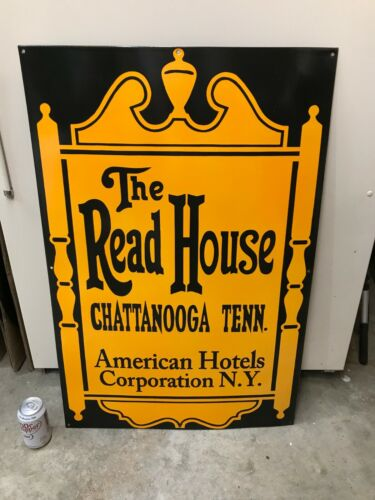 """""""THE READ HOUSE CHATTANOOGA, TN"""" LARGE HEAVY PORCELAIN SIGN (36""""x 24""""), NICE"""