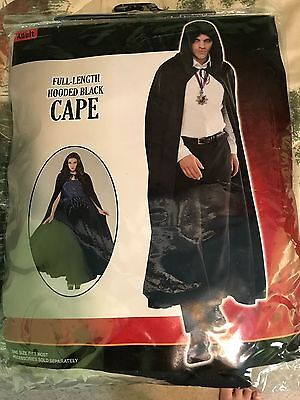 Party City Adult Costumes (Adult Full Length Hooded Black Cape - Halloween Costume - Party City - New)